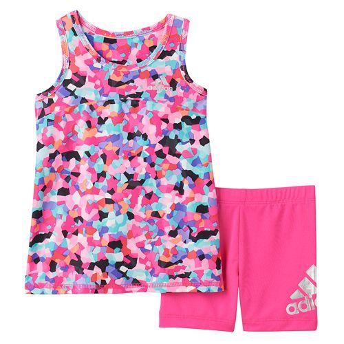Toddler Girl adidas Mosaic Tank Top & Shorts Set