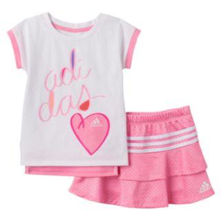 Toddler Girl adidas Heart Tee & Skort Set
