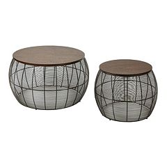 OSP Designs 2-piece Round Metal Accent Table Set