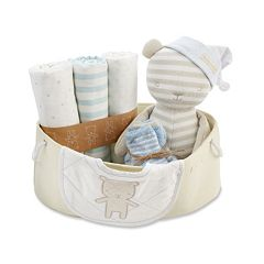 Baby Aspen 10 pc Blue & Beige Welcome Home Baby Gift Set