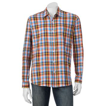 Men's Michael Brandon Southern Vintage Orange Plaid Button-Down Shirt
