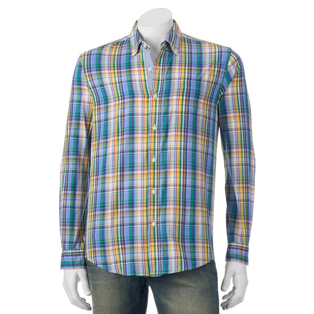 Men's Michael Brandon Southern Vintage Green Plaid Button-Down Shirt