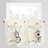 Park B. Smith 2-pack World Map Tier Kitchen Window Curtain Set