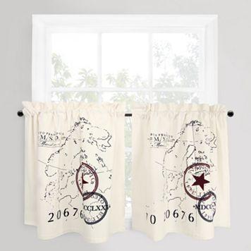 Park B. Smith 2-pack World Map Tier Kitchen Window Curtain Set