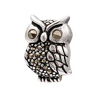 Individuality Beads Marcasite Sterling Silver Owl Charm