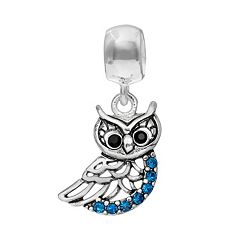 Individuality Beads Crystal Sterling Silver Owl Charm
