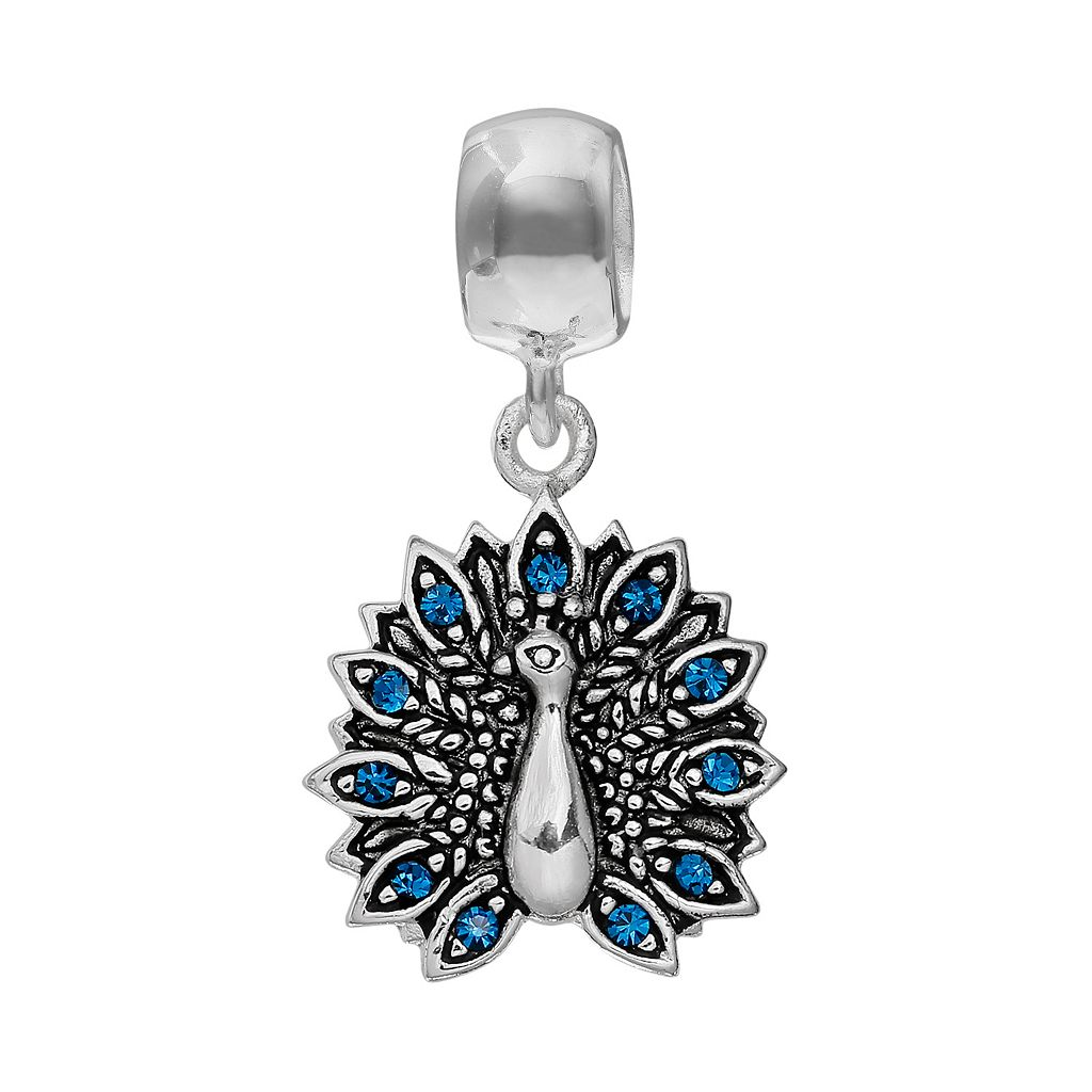 Individuality Beads Crystal Sterling Silver Peacock Charm
