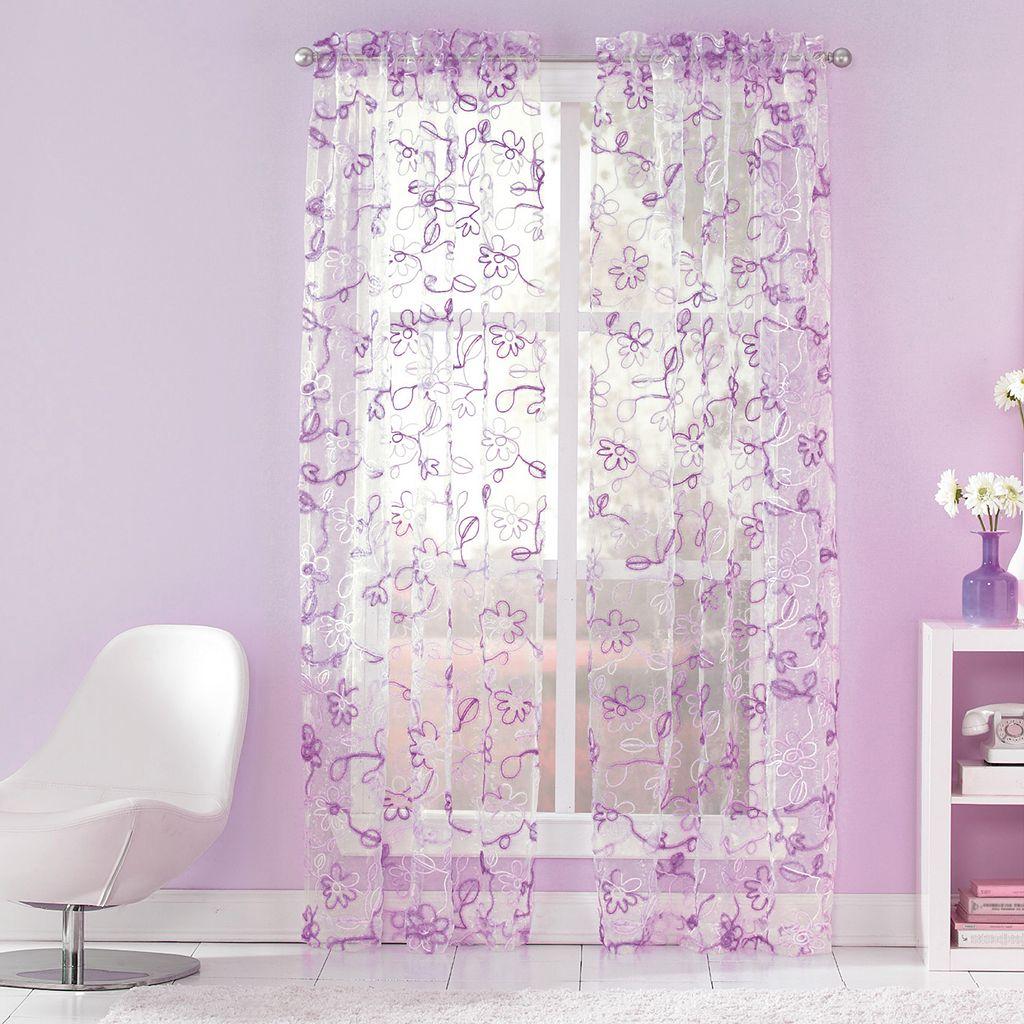 CHF Ribbon Trim Sheer Window Curtain