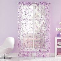 CHF Ribbon Trim Sheer Window Curtain