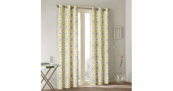 Window Curtains Gray And Yellow: Intelligent Design Alana Curtain