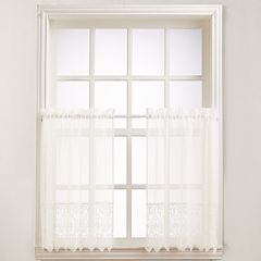 No918 Joy Lace Tier Kitchen Window Curtain Set