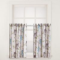 No 918 2-pack Hoot Owl Tier Kitchen Window Curtain Set