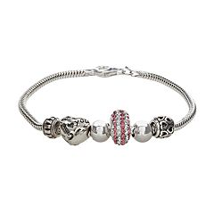 Individuality Beads Crystal Sterling Silver Snake Chain Bracelet & 'I Love You' Heart Bead Set