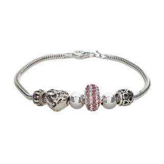 Individuality Beads Crystal Sterling Silver Snake Chain Bracelet & I Love You Heart Bead Set