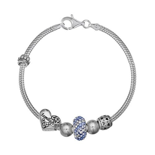 """Individuality Beads Crystal Sterling Silver """"Family"""" Bead Snake Chain Bracelet"""