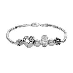 Individuality Beads Crystal Sterling Silver Snake Chain Bracelet & 'Best Friends' Heart Bead Set
