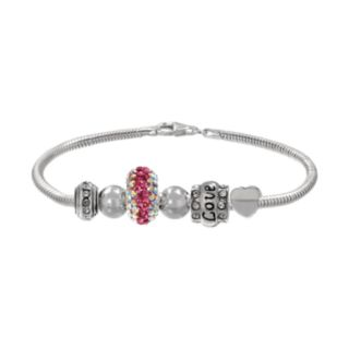 Individuality Beads Crystal Sterling Silver Snake Chain Bracelet & Love Heart Bead Set