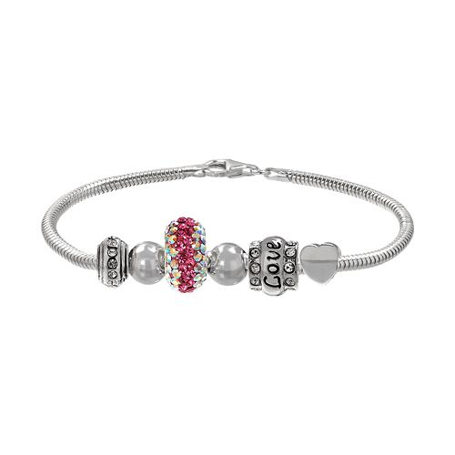 "Individuality Beads Crystal Sterling Silver Snake Chain Bracelet & ""Love"" Heart Bead Set"