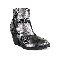 Olivia Miller Dana Women's Metallic Chunky Heel Boots