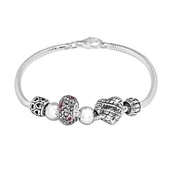 Individuality Beads Crystal Sterling Silver Snake Chain Bracelet & 'Grandma' Heart Bead Set