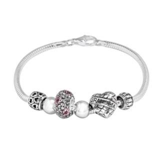 Individuality Beads Crystal Sterling Silver Snake Chain Bracelet & Grandma Heart Bead Set