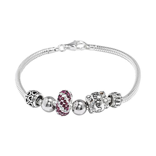 "Individuality Beads Crystal Sterling Silver Snake Chain Bracelet & ""Sister"" Bead Set"