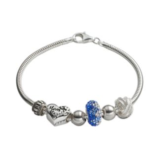 Individuality Beads Crystal Sterling Silver Snake Chain Bracelet, Knot & Mom Heart Bead Set