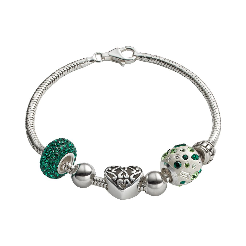 Individuality Beads Crystal Sterling Silver Snake Chain Bracelet & Openwork Heart Bead Set