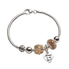 Individuality Beads Crystal 24k Gold Over Silver & Sterling Silver Bracelet & Openwork Bead & Heart Charm Set