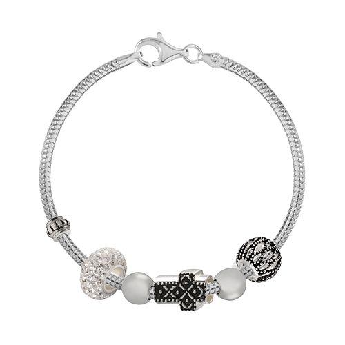 Individuality Beads Crystal Sterling Silver Snake Chain Bracelet, Sideways Cross & Openwork Bead Set