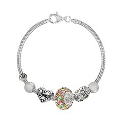 Individuality Beads Crystal Sterling Silver Snake Chain Bracelet & 'Love' Heart Bead Set
