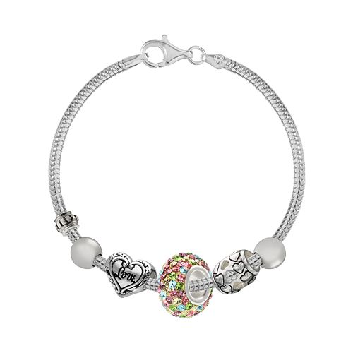 """Individuality Beads Crystal Sterling Silver Snake Chain Bracelet & """"Love"""" Heart Bead Set"""