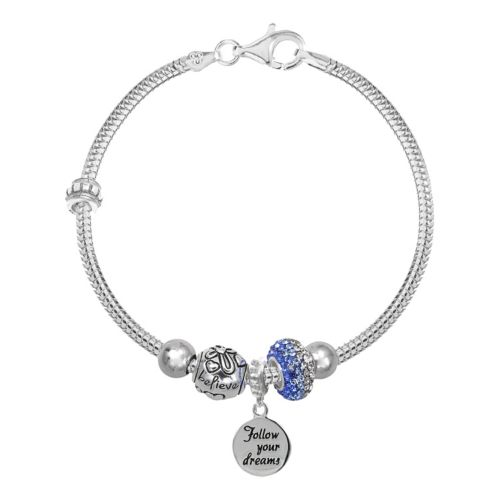 """Individuality Beads Crystal Sterling Silver Snake Chain Bracelet, Bead & """"Follow Your Dream..."""