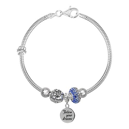 Individuality Beads Crystal Sterling Silver Snake Chain Bracelet, Bead &