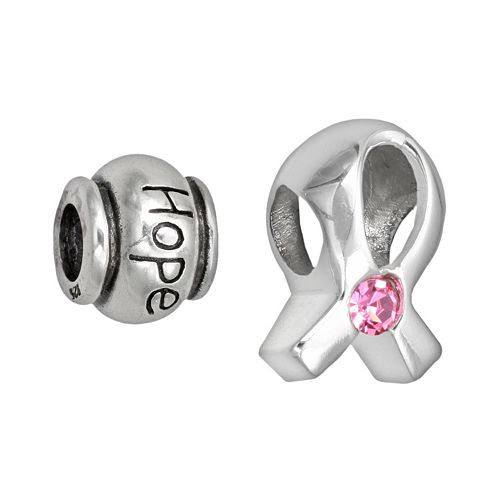 """Individuality Beads Sterling Silver Pink Crystal Ribbon & """"Hope"""" Breast Cancer Awareness Bead Set"""