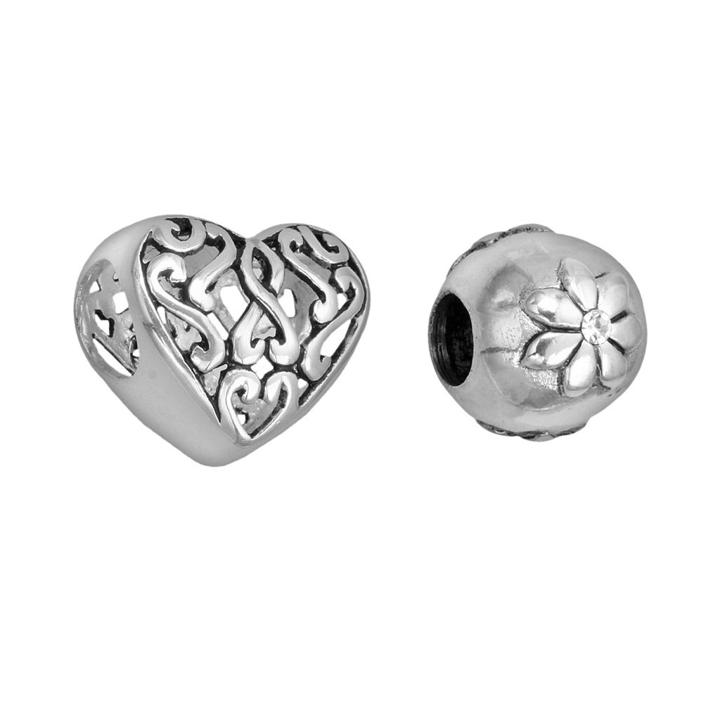 Individuality Beads Crystal Sterling Silver Flower & Filigree Heart Bead Set