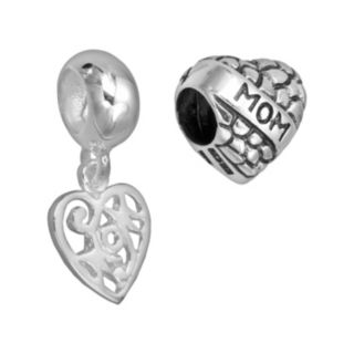 "Individuality Beads Sterling Silver ""Mom"" Bead & Openwork Heart Charm Set"