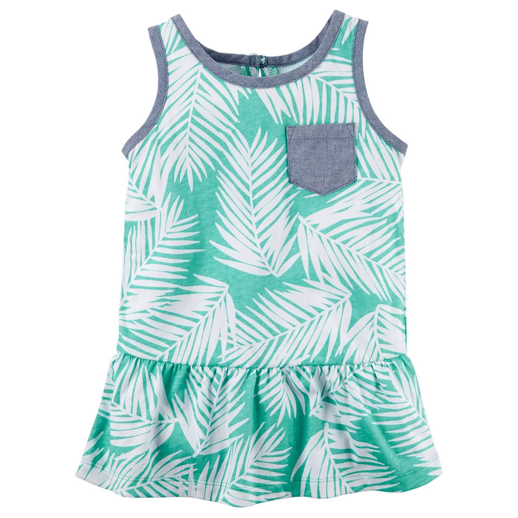 Toddler Girl Carter's Tropical Chambray Pocket Peplum Tank