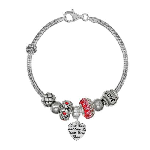 """Individuality Beads Sterling Silver Snake Chain Bracelet, """"Love"""" Heart Charm & Bead Se..."""