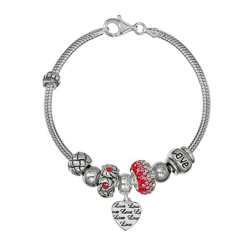"Individuality Beads Sterling Silver Snake Chain Bracelet, ""Love"" Heart Charm & Bead Set"