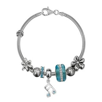 Individuality Beads Sterling Silver Snake Chain Bracelet, Music Note Charm & Bead Set