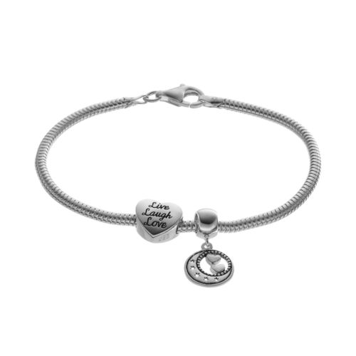 "Individuality Beads Sterling Silver Snake Chain Bracelet, Moon Charm & ""Live, Laugh, Love&q..."