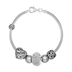 Individuality Beads Crystal Sterling Silver 'Mom' Bead Snake Chain Bracelet