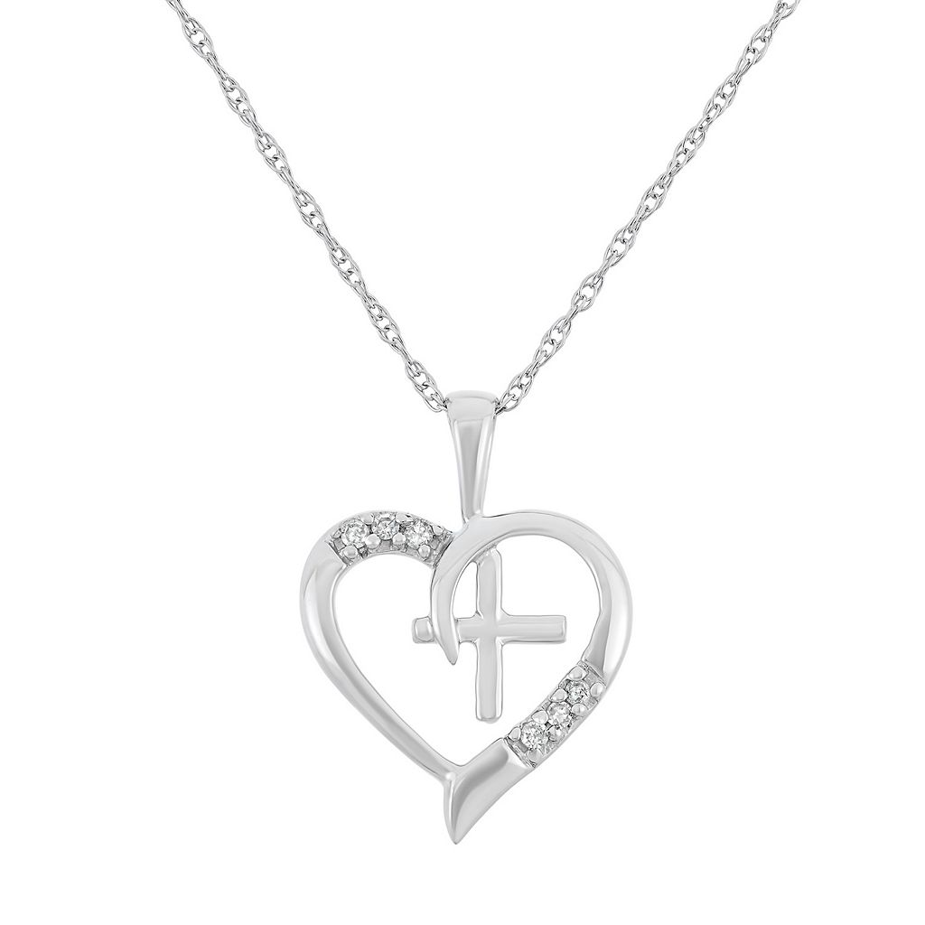 Diamond Accent 10k Gold Heart & Cross Pendant Necklace