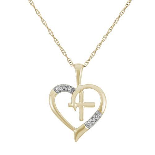 Diamond Accent 10k Gold Heart & Cross Pendant Necklace
