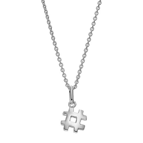 Itsy BitsySterling Silver Hashtag Pendant Necklace