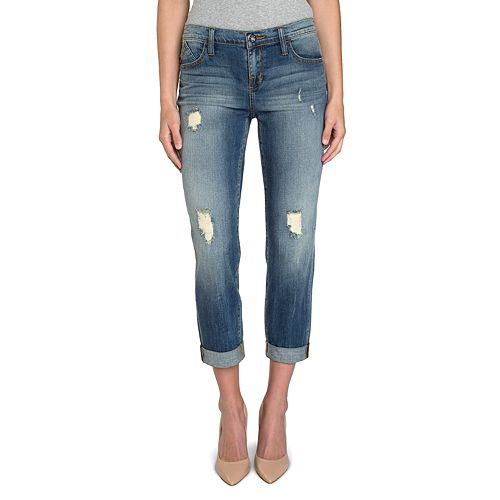 ROCK /& REPUBLIC WOMEN/'S JR LOW RISE STRAIGHT LEG DISTRESSED DENIM BLUE JEANS NEW