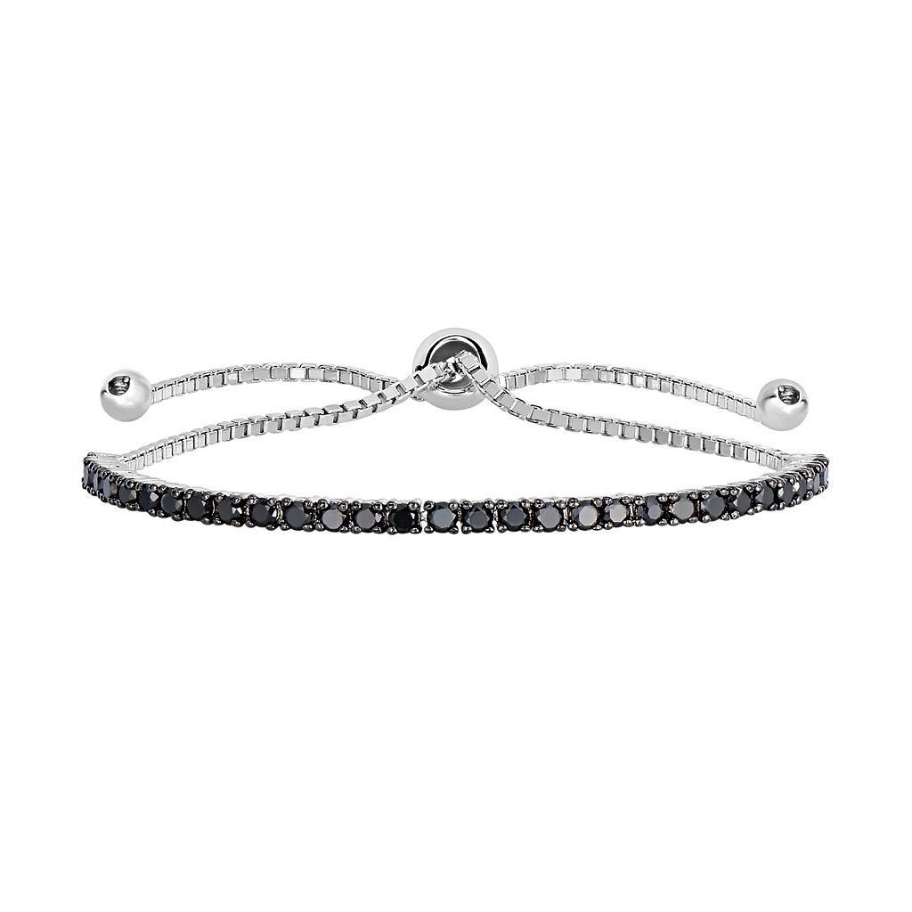 Sterling Silver 1 1/2 Carat T.W. Black Diamond Lariat Bracelet