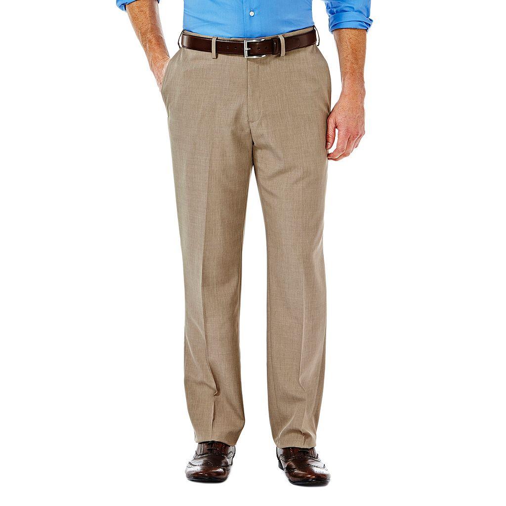 Men's Haggar eCLo Stria Straight-Fit Flat-Front Dress Pants