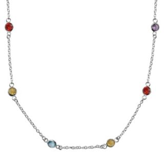 Sterling Silver Multicolor Cubic Zirconia Station Necklace - 16 in.